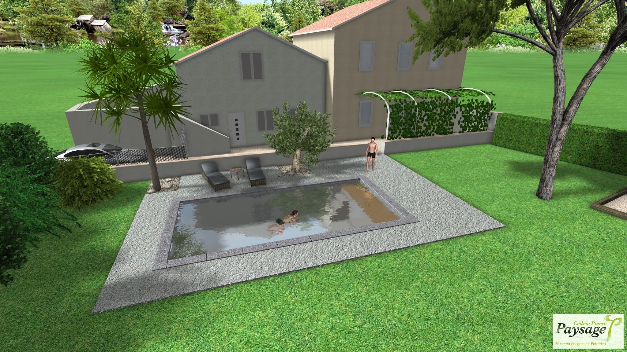 Dessin Piscine Pool House - C2S Maçonnerie