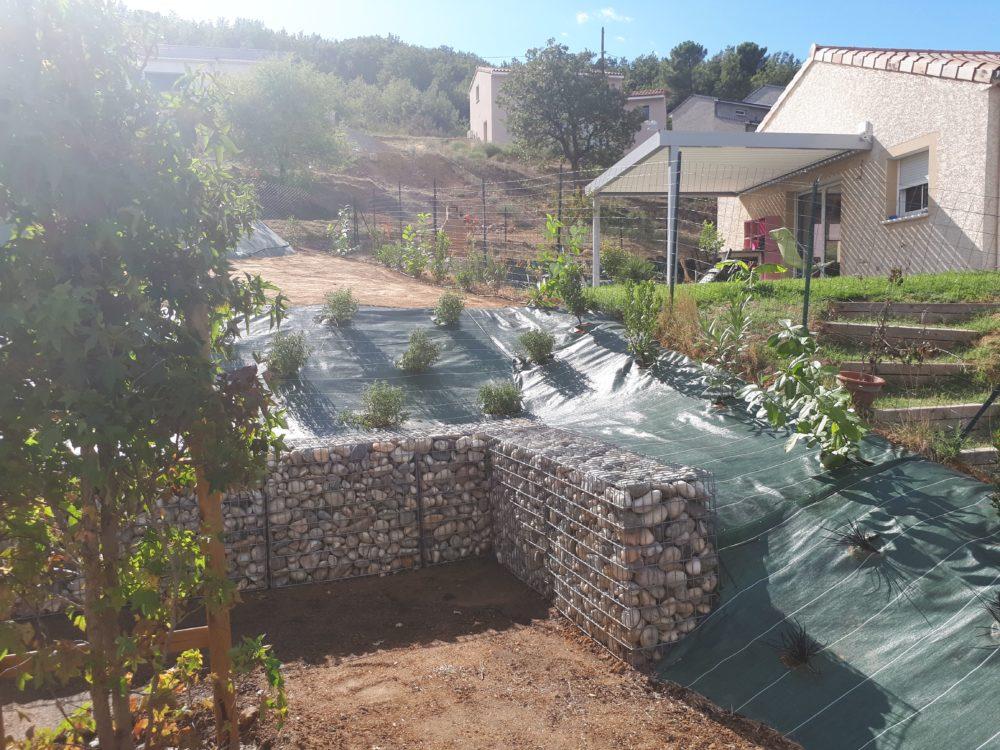 création mur gabion jardin ardèche
